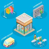 Vector 3d isometric laundry service concept illustration. Laundry service vector flat 3d isometric illustration. Laundry room and dry cleaning, laundromat Royalty Free Stock Image