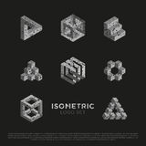 Vector 3d Isometric Logo Set. Vector 3d Logo Set with Grunge Texture. Isometric Signs. Illusion Symbols Stock Photo
