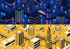 Vector 3d isometric modern cities - different types stock illustration