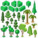 Vector 3d isometric plants, trees, bushes, palms royalty free illustration