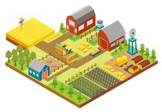 Vector 3d isometric rural farm with mill, garden field, trees, tractor combine harvester, house, windmill and warehouse. Vector isometric icon representing rural Stock Images