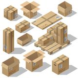Vector 3d isometric set of cardboard packaging. Mail for delivery isolated on white background. Open and closed pasteboard boxes of different shapes on wooden Royalty Free Stock Photo