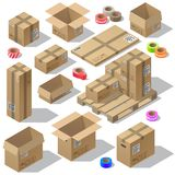 Vector 3d isometric set of cardboard packaging. Mail with adhesive tapes for delivery. Packages isolated on white background. Open and closed pasteboard boxes Stock Photography