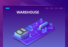 Vector 3d isometric site - warehouse with tracking. Vector 3d isometric site template with warehouse, tracking system. Site with buttons in ultraviolet colors Royalty Free Stock Photos
