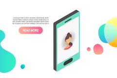Vector 3d isometric smartphone icon.Isometric concept with smartphone and incoming call royalty free illustration