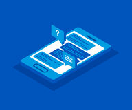 Vector 3d isometric smartphone icon. Social network concept. Messenger window. Royalty Free Stock Images