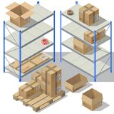 Vector 3d isometric storage of post service. Set of cardboard packaging, mail with adhesive tapes for delivery. Packages, shelves isolated on white background Stock Photography
