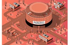 Vector 3d isometric territory with multi-storey parking. Vector 3d isometric territory for cars with round multi-storey parking. Vehicles on covered building stock illustration
