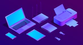 Vector 3d isometric ultraviolet laptop, printer stock illustration