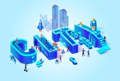 Vector 3d Isometric Word City, Neon Blue Color. stock illustration