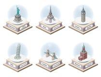 Vector 3d isometrische sneeuwbollen met wereldberoemde binnen oriëntatiepunten Inzameling van Kerstmisillustraties op witte backg stock illustratie