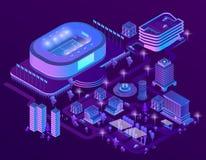 Vector 3d isometrische ultraviolette megapolis met stadion royalty-vrije illustratie