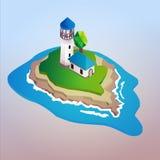 Vector 3d isometrische vuurtoren op eiland Vector Illustratie