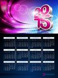 Vector 3d Kalender 2015 illustratie op abstracte kleurenachtergrond Stock Afbeelding