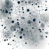 Vector 3d l'astrazione digitale, illustrazione poligonale geometrica della maglia di prospettiva Fotografie Stock
