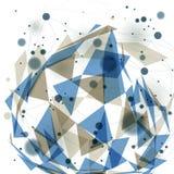 Vector 3d l'astrazione digitale, illustrazione poligonale geometrica della maglia di prospettiva Immagini Stock Libere da Diritti