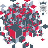 Vector 3d l'astrazione digitale, la prospettiva poligonale geometrica i Immagine Stock Libera da Diritti