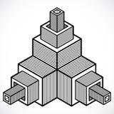 Vector 3d la forma geometrica astratta, figura poligonale Fotografia Stock Libera da Diritti