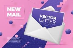 Vector 3d la scena astratta realistica, busta aperta illustrazione vettoriale