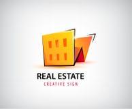 Vector 3d las propiedades inmobiliarias, edificio, logotipo de la casa aislado Foto de archivo libre de regalías