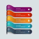 Vector 3d line steps infographic mockup template background. Simple multicolor 3d line 5 steps infographics mockup template. Infographic background concepts Royalty Free Stock Photos