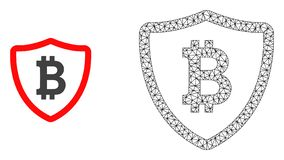 Vector 2D Mesh Bitcoin Shield and Flat Icon vector illustration