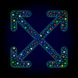 Vector 2D Mesh Enlarge Arrows met Gloeiende Vlekken voor Nieuwjaar royalty-vrije illustratie