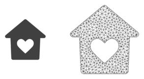 Vector 2D Mesh Lovely House and Flat Icon royalty free illustration