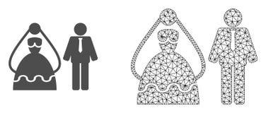 Vector 2D Mesh Marriage Persons en Vlak Pictogram stock illustratie