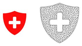 Vector 2D Mesh Medical Shield and Flat Icon vector illustration