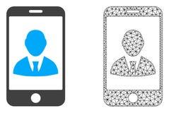 Vector 2D Mesh Mobile User Profile en Vlak Pictogram royalty-vrije illustratie