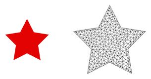 Vector 2D Mesh Red Star and Flat Icon royalty free illustration