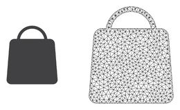 Vector 2D Mesh Shopping Bag and Flat Icon stock illustration