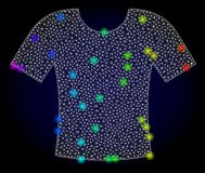 Vector 2D Mesh T-Shirt with Rainbow Colored Glare Spots royalty free illustration