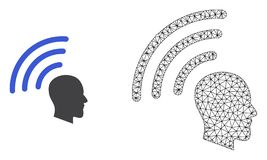 Vector 2D Mesh Telepathy Waves and Flat Icon stock illustration
