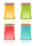 Vector 3d mockup. Collection of color square empty tin packaging Royalty Free Stock Photos