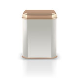 Vector 3d mockup. Silver square empty tin packaging with golden Stock Photos