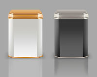 Vector 3d mockup. White and black square empty tin packaging, si Stock Photography