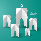 Vector 3D Mosque Paper Sculpture. Royalty Free Stock Photo