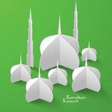 Vector 3D Mosque Paper Sculpture. Translation: Ramadan Kareem - May Generosity Bless You During The Holy Month Stock Images