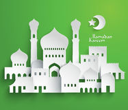 Vector 3D Muslim Paper Graphics. Translation: Ramadan Kareem - May Generosity Bless You During The Holy Month Stock Photography