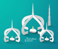 Vector 3D Muslim Paper Sculpture Oil Lamp. Translation: Ramadan Kareem - May Generosity Bless You During The Holy Month Stock Images