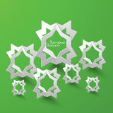 Vector 3D Muslim Pattern Paper Sculpture. Translation: Ramadan Kareem - May Generosity Bless You During The Holy Month Stock Photography