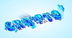 Vector 3d Neon Isometric Word Crypto People Mining. Vector 3d Neon Isometric Word Crypto on Light Blue Gradient Background. Little People Mining Cryptocurrency stock illustration