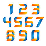 Vector 3d Number set logo with speed orange and blue. Design for banner, presentation, web page, card, labels or posters.  Royalty Free Stock Images