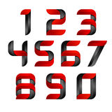 Vector 3d Number set logo with speed red and black. Design for banner, presentation, web page, card, labels or posters Royalty Free Stock Images