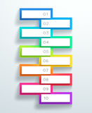 Vector 3d Numbered Text Boxes Stacked 1 to 10. Vector white text box frames stacked in a ladder, numbered 1 to 10 on a colorful slab with blank space for text royalty free illustration
