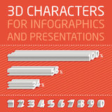 Vector 3D Numbers for infographics Royalty Free Stock Photos