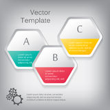 Vector 3d paper hexagon elements for infographic. With icons Royalty Free Stock Images