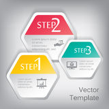 Vector 3d paper hexagon elements for infographic. With icons Royalty Free Stock Photography